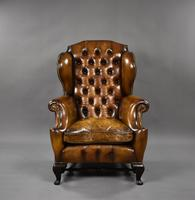 19th Century Victorian Hand Dyed Brown Leather Wing Back Armchair (2 of 9)
