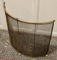Victorian Arts & Crafts Brass Curved Fire Guard, Spark Screen (5 of 5)