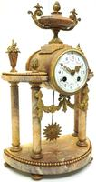 Antique 8 Day French Ormolu & Marble Mantel Clock Set with 2 Branch Candelabras (6 of 10)