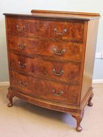 Antique Bow Front Figured Walnut Chest of Drawers (4 of 11)
