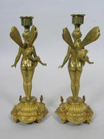 Good Pair of 19th Century French Gilt Bronze Winged Fairy Candlesticks (2 of 5)