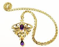 Antique Gold Amethyst And Seed Pearl Necklace