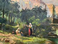 Large Early 1900s North African Cityscape with Mosque Oil Painting on Canvas (3 of 15)