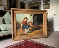 Huge Stunning 20thc Oil Portrait Painting Of 2 Children Playing In A Barn (2 of 12)