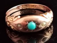 Antique Turquoise & Pearl Ring, 9ct Gold (6 of 11)
