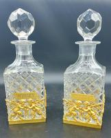 Pair of French Ormolu Cut Crystal Decanters Whisky & Cognac (7 of 8)