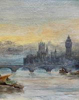 Superb Original 1921 View of Westminster, London Seascape Oil Painting (3 of 12)