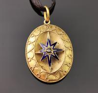 Victorian Diamond Star Pendant, Blue Enamel, 9ct Gold (11 of 11)