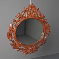 Carved Black Forest Walnut Wall Mirror (2 of 7)