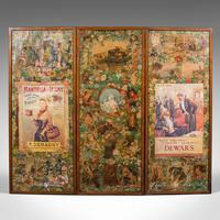 Antique Privacy Scrap Screen, English, Photo Prop, Room Divider, Victorian, 1860 (6 of 12)