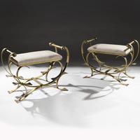 Pair of Mid-20th Century Spanish Gilt Metal & Linen Stools