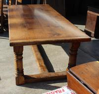 1960's Oak Refectory Table with Set 8 Jacobean style Oak Highback Dining Chairs (7 of 7)