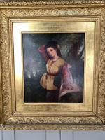 Antique Re-Raphaelite oil painting portrait of aristocratic young girl (1 of 2) (4 of 10)