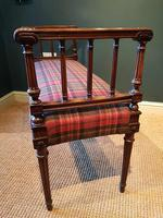 Fine Antique Upholstered Mahogany Reeded Leg Double Stool (5 of 5)