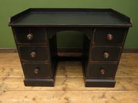 Black Painted Writing Desk with Drawers, Gothic Shabby Chic (2 of 15)
