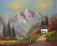 The Three Peaks 20thc Vintage Swiss School - Mountainous Landscape Oil Painting (2 of 12)