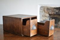 Vintage Mid Century Industrial Oak Bank of Two Drawers (5 of 10)