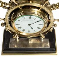 Brass Ship's Novelty Clock Presented to Captain Tynte F Hammill RN (4 of 7)