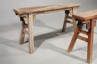 Pair of Late 19th Century Elm Slender Benches (3 of 3)