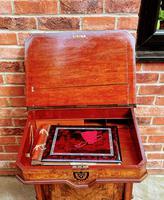 Antique Victorian Inlaid Burr Walnut Davenport Writing Desk (6 of 12)