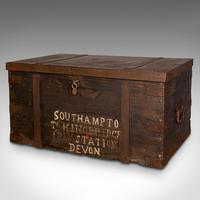 Antique Steamer Trunk, English, Pine, Iron, Carriage Chest, Victorian c.1860 (4 of 12)