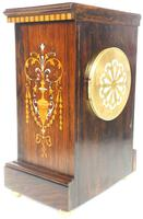 Incredible Rosewood Cased Mantel Clock with Multi Wood & Mother of Pearl Inlay 8-day Striking Clock (12 of 12)