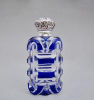 Victorian silver and Bohemian overlay Bristol blue glass scent bottle c.1890