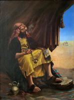 Beautiful Original 19thc Portrait Oil Painting of Smoking Arabian Gentleman (13 of 13)