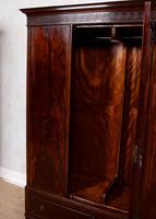 Triple Compactum Wardrobe Flame Mahogany 19th Century (4 of 12)