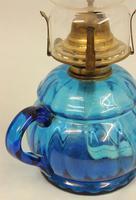 Antique Blue Glass Finger / Hand Oil Lamp (3 of 6)
