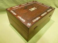 Inlaid Rosewood Table Box / Jewellery Box c.1840 (7 of 12)
