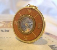 Vintage Pocket Watch Chain Compass Fob 1950s Tan Leather & Gilt Drum Case Fob FWO (2 of 9)