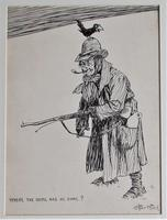 Starr Wood Original Pen & Ink Cartoon, Signed, Vintage Frame (2 of 5)