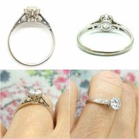 Art Deco Platinum old European cut diamond solitaire engagement ring 0.65ct ~ With appraisal & valuation (8 of 11)