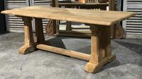 French Bleached Oak Trestle Farmhouse Dining Table (15 of 18)
