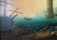 After Claude Lorrain Huge Superb 19th Century Venice Seascape Oil Painting (12 of 22)