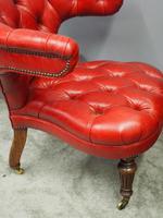 Victorian Oak & Crimson Leather Cockfighting Chair (5 of 10)