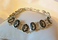 "Vintage Sterling Silver Enamel Bracelet 1960s Goddess of Love 7"" Length 9.1 Grams (3 of 12)"