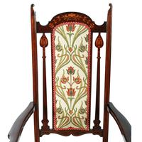 Art Nouveau Inlaid Mahogany Armchair (5 of 8)