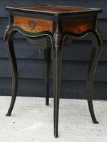 Fine Quality 19th Century French Ebonised & Amboyna Serpentine Sewing Table (15 of 22)