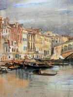 Large Early 1900s Venetian Venice Landscape Watercolour Study Sketch Painting (8 of 14)