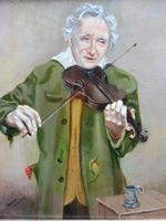 Oil on Canvas The Violinist Artist David Vivien 1970s (9 of 10)