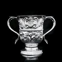 Georgian Solid Silver Loving Cup / Two Handled Cup - London 1748 (17 of 28)
