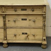 Antique pine sideboard with a bank of 6 drawers (4 of 5)