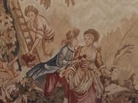 Antique French Tapestry Classical Courtly Love Romance c.1860 (3 of 17)