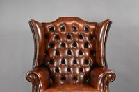 George II Style Brown Leather Hand Dyed Wingback Armchair (3 of 17)