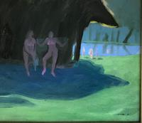 Original Oil Painting 'The bathing party, Cambridge' by Warwick Hutton (2 of 2)