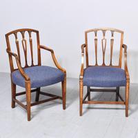 Pair of Inlaid Mahogany Georgian Hepplewhite Armchairs