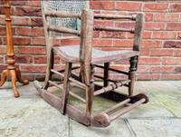 Antique Vintage Adjustable Wooden Wood Children's Baby Toddler High Chair Rocking Chair (2 of 5)