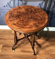Victorian Burr Walnut & Marquetry Occasional Table (2 of 10)